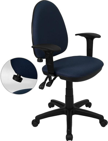 Mid-Back Navy Blue Fabric Multi-Functional Task Chair with Arms and Adjustable Lumbar Support WL-A654MG-NVY-A-GG by Flash Furniture - Peazz Furniture