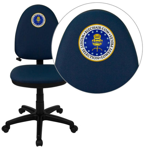 Flash Furniture WL-A654MG-NVY-EMB-GG Embroidered Mid-Back Navy Blue Fabric Multi-Functional Task Chair with Adjustable Lumbar Support - Peazz Furniture
