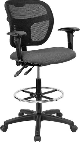 Mid-Back Mesh Drafting Stool with Gray Fabric Seat and Arms WL-A7671SYG-GY-AD-GG by Flash Furniture - Peazz Furniture