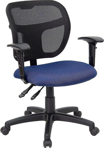 Mid-Back Mesh Task Chair with Navy Blue Fabric Seat and Arms WL-A7671SYG-NVY-A-GG by Flash Furniture - Peazz Furniture