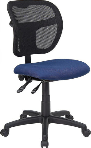 Mid-Back Mesh Task Chair with Navy Blue Fabric Seat WL-A7671SYG-NVY-GG by Flash Furniture - Peazz Furniture