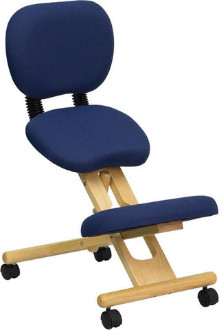 Wooden Ergonomic Kneeling Posture Office Chair with Reclining Back WL-SB-310-GG by Flash Furniture - Peazz Furniture