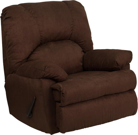 Contemporary Montana Chocolate Microfiber Suede Rocker Recliner WM-8500-263-GG by Flash Furniture - Peazz Furniture