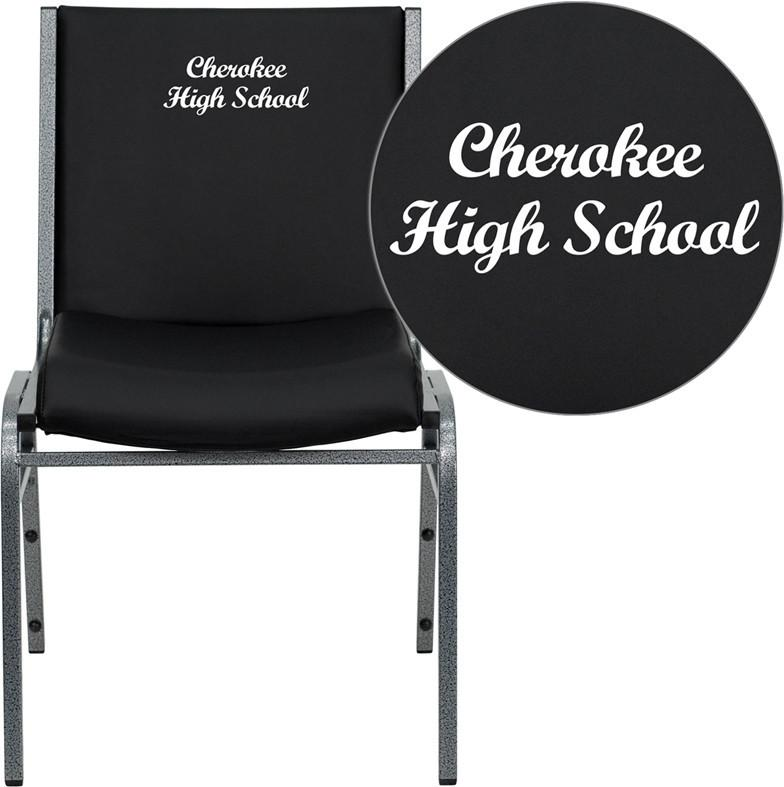 Flash Furniture XU-60153-BK-VYL-EMB-GG Embroidered HERCULES Series Heavy Duty, 3'' Thickly Padded, Black Vinyl Stack Chair