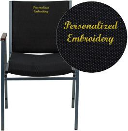 Flash Furniture XU-60154-BK-EMB-GG Embroidered HERCULES Series Heavy Duty, 3'' Thickly Padded, Black Patterned Upholstered Stack Chair with Arms - Peazz Furniture