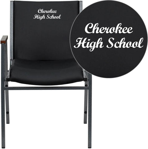 Flash Furniture XU-60154-BK-VYL-EMB-GG Embroidered HERCULES Series Heavy Duty, 3'' Thickly Padded, Black Vinyl Stack Chair with Arms - Peazz Furniture