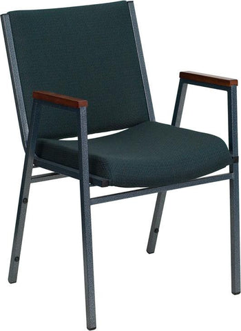 HERCULES Series Heavy Duty, 3'' Thickly Padded, Green Patterned Upholstered Stack Chair with Arms XU-60154-GN-GG by Flash Furniture - Peazz Furniture