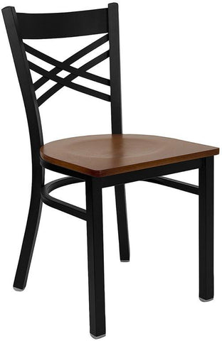 HERCULES Series Black ''X'' Back Metal Restaurant Chair with Cherry Wood Seat XU-6FOBXBK-CHYW-GG by Flash Furniture - Peazz Furniture