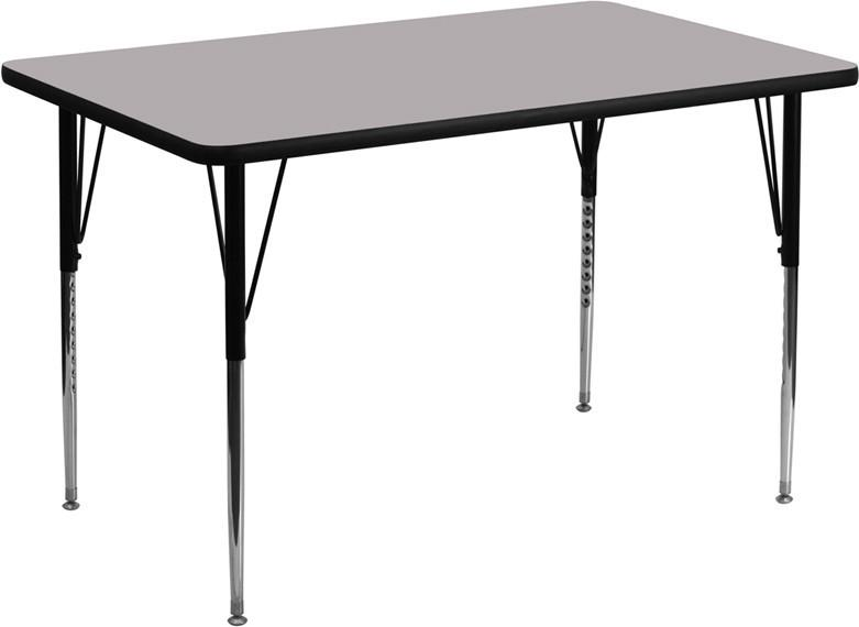 24W x 48L Rectangular Activity Table with Grey Thermal Fused Laminate Top and Standard Height Adjustable Legs XU A2448 REC GY T A GG by Flash Furn