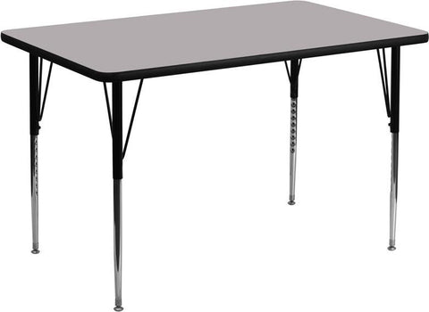 24''W x 48''L Rectangular Activity Table with Grey Thermal Fused Laminate Top and Standard Height Adjustable Legs XU-A2448-REC-GY-T-A-GG by Flash Furniture - Peazz Furniture