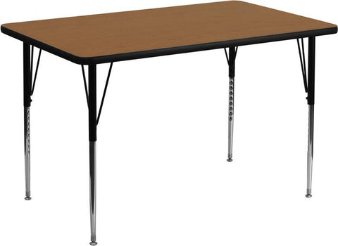 24''W x 48''L Rectangular Activity Table with Oak Thermal Fused Laminate Top and Standard Height Adjustable Legs XU-A2448-REC-OAK-T-A-GG by Flash Furniture - Peazz Furniture