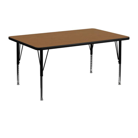 Flash Furniture XU-A2448-REC-OAK-T-P-GG 24''W x 48''L Rectangular Activity Table with Oak Thermal Fused Laminate Top and Height Adjustable Pre-School Legs - Peazz Furniture