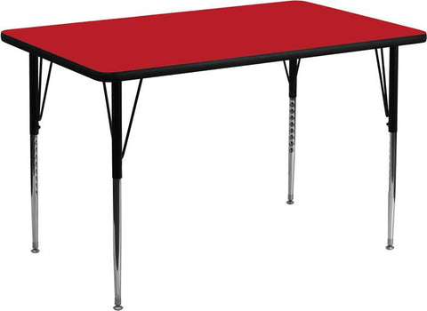24''W x 48''L Rectangular Activity Table with 1.25'' Thick High Pressure Red Laminate Top and Standard Height Adjustable Legs XU-A2448-REC-RED-H-A-GG by Flash Furniture - Peazz Furniture