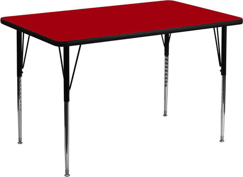 24''W x 48''L Rectangular Activity Table with Red Thermal Fused Laminate Top and Standard Height Adjustable Legs XU-A2448-REC-RED-T-A-GG by Flash Furniture - Peazz Furniture