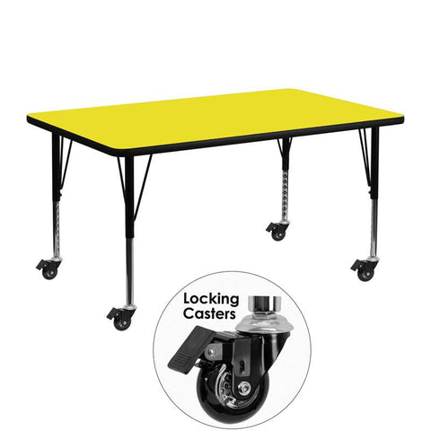 Flash Furniture XU-A2448-REC-YEL-H-P-CAS-GG Mobile 24''W x 48''L Rectangular Activity Table with 1.25'' Thick High Pressure Yellow Laminate Top and Height Adjustable Pre-School Legs - Peazz Furniture