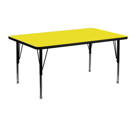 Flash Furniture XU-A2448-REC-YEL-H-P-GG 24''W x 48''L Rectangular Activity Table with 1.25'' Thick High Pressure Yellow Laminate Top and Height Adjustable Pre-School Legs - Peazz Furniture