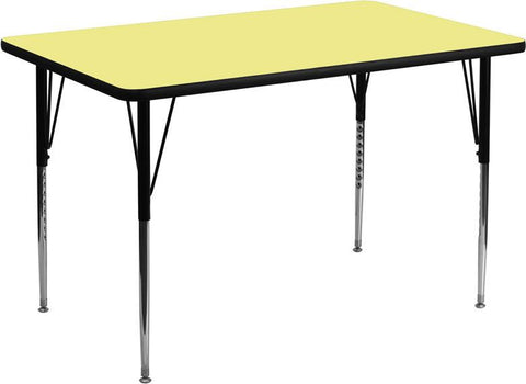 24''W x 48''L Rectangular Activity Table with Yellow Thermal Fused Laminate Top and Standard Height Adjustable Legs XU-A2448-REC-YEL-T-A-GG by Flash Furniture - Peazz Furniture