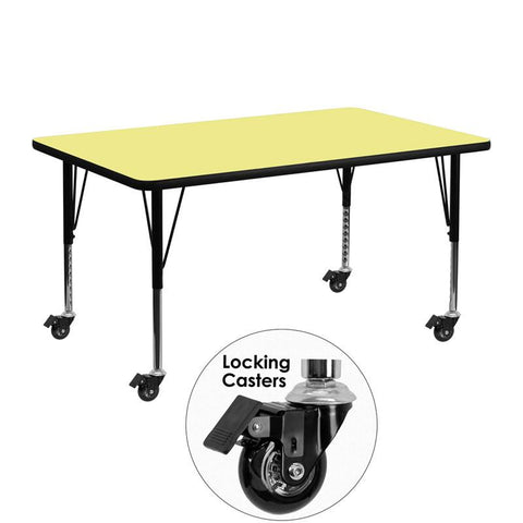 Flash Furniture XU-A2448-REC-YEL-T-P-CAS-GG Mobile 24''W x 48''L Rectangular Activity Table with Yellow Thermal Fused Laminate Top and Height Adjustable Pre-School Legs - Peazz Furniture