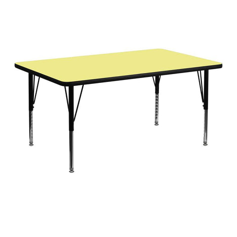 Flash Furniture XU-A2448-REC-YEL-T-P-GG 24''W x 48''L Rectangular Activity Table with Yellow Thermal Fused Laminate Top and Height Adjustable Pre-School Legs - Peazz Furniture