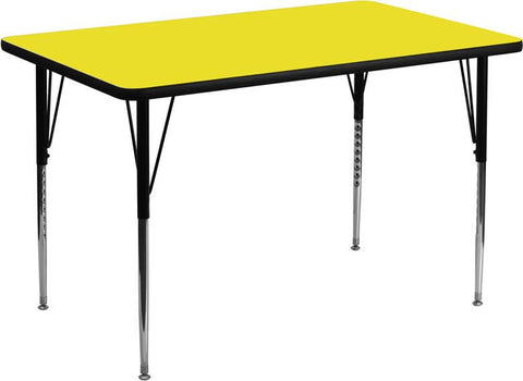 24''W x 60''L Rectangular Activity Table with 1.25'' Thick High Pressure Yellow Laminate Top and Standard Height Adjustable Legs XU-A2460-REC-YEL-H-A by Flash Furniture - Peazz Furniture