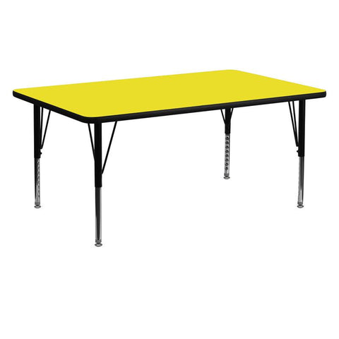 Flash Furniture XU-A2460-REC-YEL-H-P-GG 24''W x 60''L Rectangular Activity Table with 1.25'' Thick High Pressure Yellow Laminate Top and Height Adjustable Pre-School Legs - Peazz Furniture