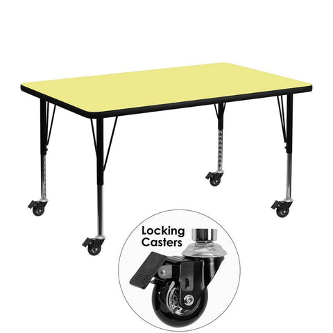 Flash Furniture XU-A3048-REC-YEL-T-P-CAS-GG Mobile 30''W x 48''L Rectangular Activity Table with Yellow Thermal Fused Laminate Top and Height Adjustable Pre-School Legs - Peazz Furniture