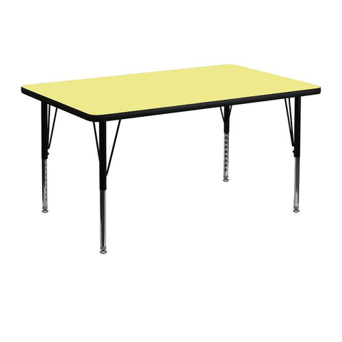 Flash Furniture XU-A3048-REC-YEL-T-P-GG 30''W x 48''L Rectangular Activity Table with Yellow Thermal Fused Laminate Top and Height Adjustable Pre-School Legs - Peazz Furniture