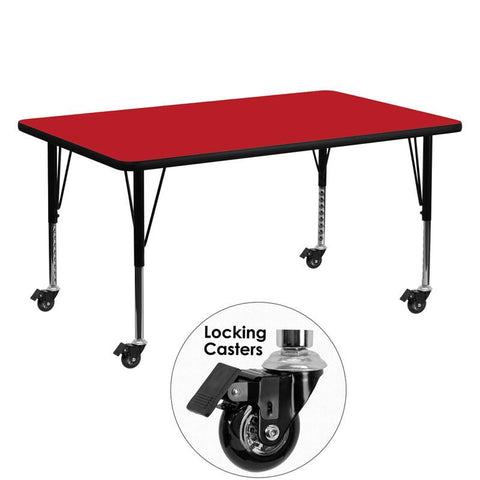Flash Furniture XU-A3060-REC-RED-H-P-CAS-GG Mobile 30''W x 60''L Rectangular Activity Table with 1.25'' Thick High Pressure Red Laminate Top and Height Adjustable Pre-School Legs - Peazz Furniture