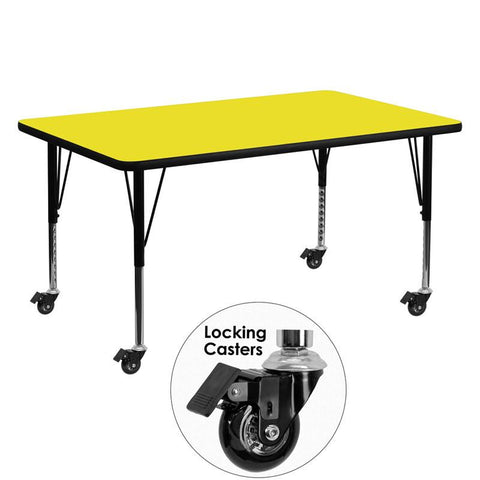 Flash Furniture XU-A3060-REC-YEL-H-P-CAS-GG Mobile 30''W x 60''L Rectangular Activity Table with 1.25'' Thick High Pressure Yellow Laminate Top and Height Adjustable Pre-School Legs - Peazz Furniture