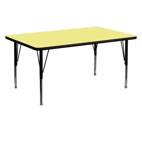 Flash Furniture XU-A3060-REC-YEL-T-P-GG 30''W x 60''L Rectangular Activity Table with Yellow Thermal Fused Laminate Top and Height Adjustable Pre-School Legs - Peazz Furniture