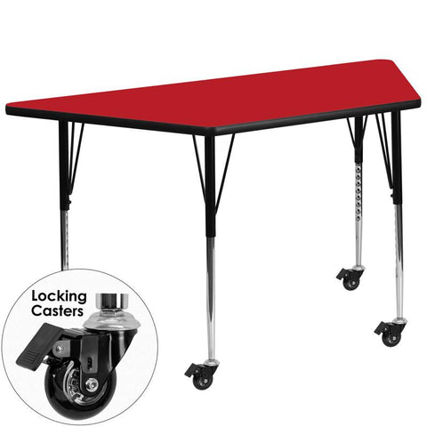 Flash Furniture XU-A3060-TRAP-RED-H-A-CAS-GG Mobile 30''W x 60''L Trapezoid Activity Table with 1.25'' Thick High Pressure Red Laminate Top and Standard Height Adjustable Legs - Peazz Furniture