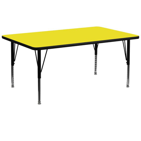 Flash Furniture XU-A3072-REC-YEL-H-P-GG 30''W x 72''L Rectangular Activity Table with 1.25'' Thick High Pressure Yellow Laminate Top and Height Adjustable Pre-School Legs - Peazz Furniture