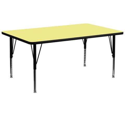 Flash Furniture XU-A3072-REC-YEL-T-P-GG 30''W x 72''L Rectangular Activity Table with Yellow Thermal Fused Laminate Top and Height Adjustable Pre-School Legs - Peazz Furniture