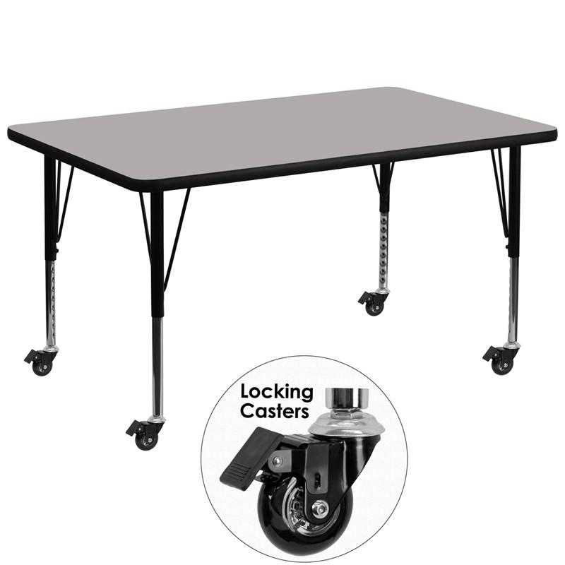 Flash Rectangular Activity Table Thick High Pressure Grey Laminate Top Heigh Mobile