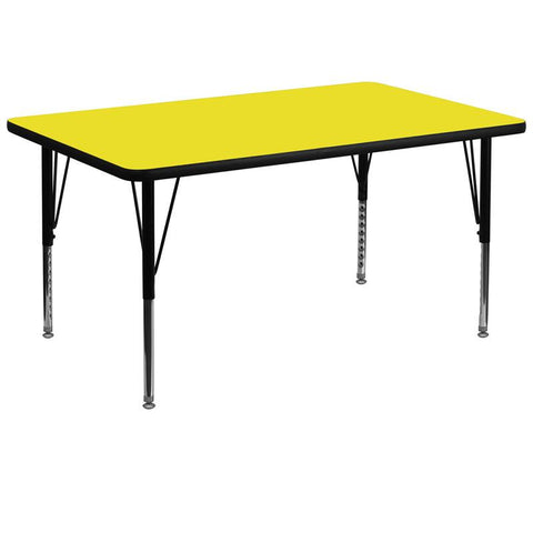 Flash Furniture XU-A3672-REC-YEL-H-P-GG 36''W x 72''L Rectangular Activity Table with 1.25'' Thick High Pressure Yellow Laminate Top and Height Adjustable Pre-School Legs - Peazz Furniture
