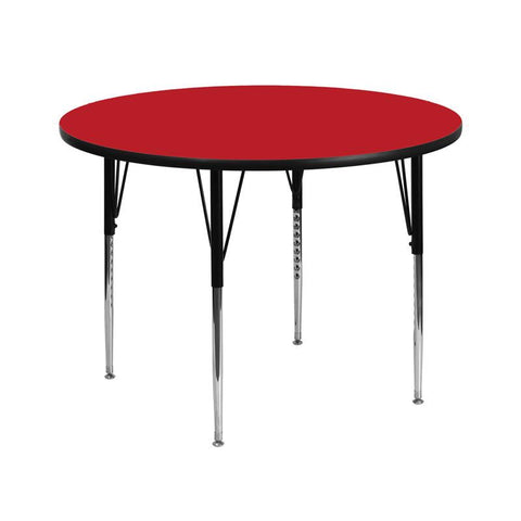 Flash Furniture XU-A42-RND-RED-H-A-GG 42'' Round Activity Table with 1.25'' Thick High Pressure Red Laminate Top and Standard Height Adjustable Legs - Peazz Furniture