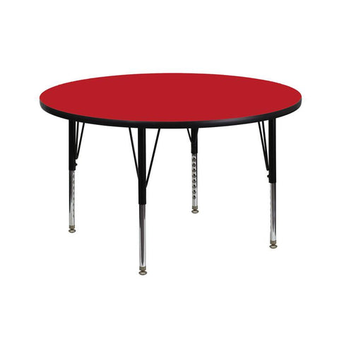 Flash Furniture XU-A42-RND-RED-H-P-GG 42'' Round Activity Table with 1.25'' Thick High Pressure Red Laminate Top and Height Adjustable Pre-School Legs - Peazz Furniture