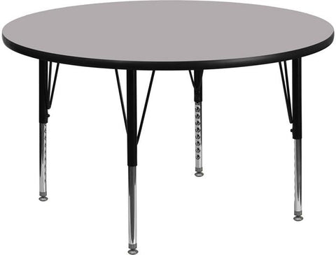 Flash Furniture XU-A48-RND-GY-T-P-GG 48'' Round Activity Table with Grey Thermal Fused Laminate Top and Height Adjustable Pre-School Legs - Peazz.com