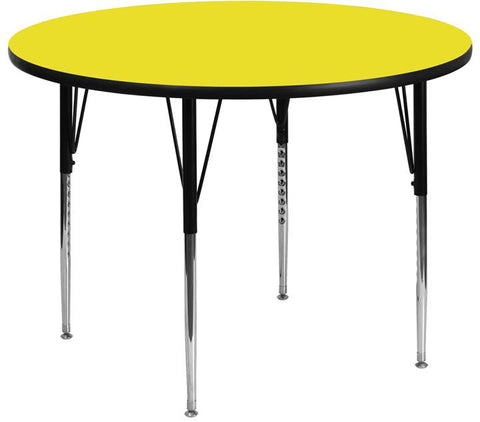 Flash Furniture XU-A48-RND-YEL-H-A-GG 48'' Round Activity Table with 1.25'' Thick High Pressure Yellow Laminate Top and Standard Height Adjustable Legs - Peazz.com