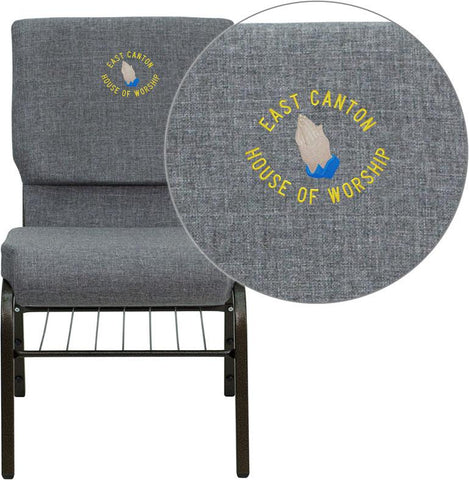 Flash Furniture XU-CH-60096-BEIJING-GY-BAS-EMB-GG Embroidered HERCULES Series 18.5'' Wide Gray Church Chair with 4.25'' Thick Seat Book Rack - Gold Vein Frame - Peazz Furniture