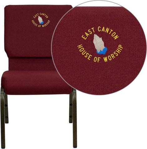Flash Furniture XU-CH-60096-BY-EMB-GG Embroidered HERCULES Series 18.5'' Wide Burgundy Stacking Church Chair with 4.25'' Thick Seat - Gold Vein Frame - Peazz Furniture