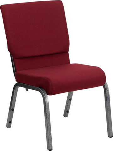 Flash Furniture XU-CH-60096-BY-SILV-GG HERCULES Series 18.5'' Wide Burgundy Stacking Church Chair with 4.25'' Thick Seat - Silver Vein Frame - Peazz Furniture