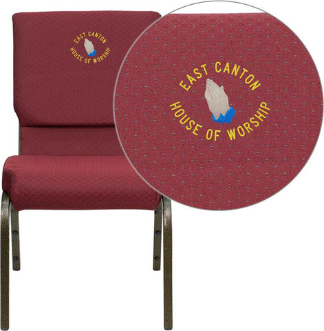 Flash Furniture XU-CH-60096-BYXY56-EMB-GG Embroidered HERCULES Series 18.5'' Wide Burgundy Patterned Stacking Church Chair with 4.25'' Thick Seat - Gold Vein Frame - Peazz Furniture
