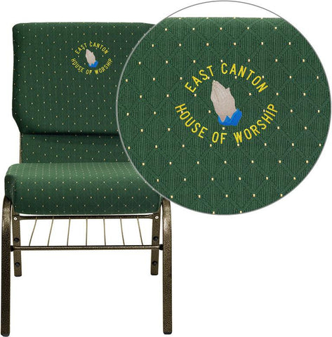Flash Furniture XU-CH-60096-GN-BAS-EMB-GG Embroidered HERCULES Series 18.5'' Wide Green Patterned Church Chair with 4.25'' Thick Seat Book Rack - Gold Vein Frame - Peazz Furniture