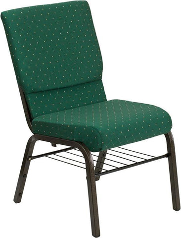 HERCULES Series 18.5'' Wide Green Patterned Church Chair with 4.25'' Thick Seat Book Rack - Gold Vein Frame XU-CH-60096-GN-BAS-GG by Flash Furniture - Peazz Furniture