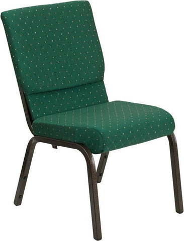 HERCULES Series 18.5'' Wide Green Patterned Stacking Church Chair with 4.25'' Thick Seat - Gold Vein Frame XU-CH-60096-GN-GG by Flash Furniture - Peazz Furniture