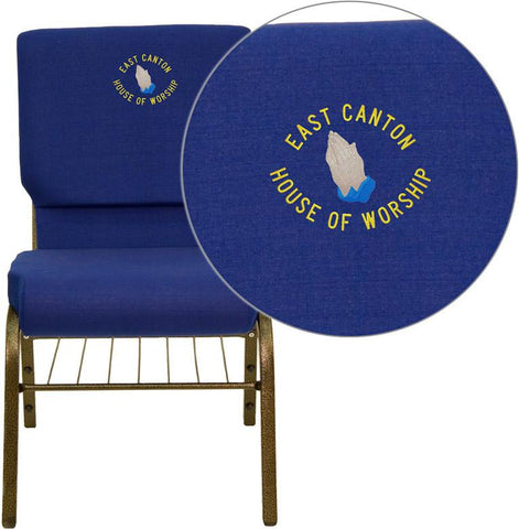 Flash Furniture XU-CH-60096-NVY-BAS-EMB-GG Embroidered HERCULES Series 18.5'' Wide Navy Blue Church Chair with 4.25'' Thick Seat Book Rack - Gold Vein Frame - Peazz Furniture