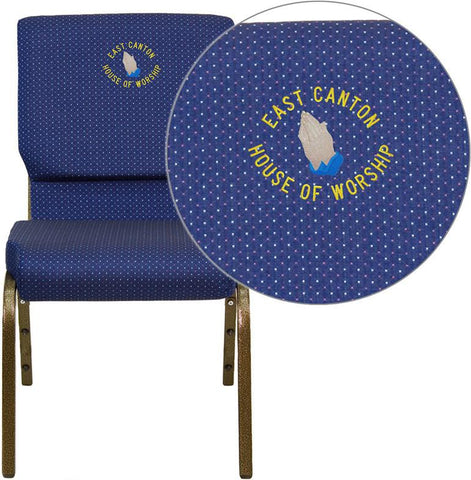 Flash Furniture XU-CH-60096-NVY-DOT-EMB-GG Embroidered HERCULES Series 18.5'' Wide Navy Blue Dot Patterned Stacking Church Chair with 4.25'' Thick Seat - Gold Vein Frame - Peazz Furniture