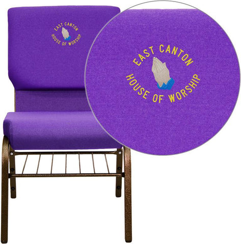 Flash Furniture XU-CH-60096-PU-BAS-EMB-GG Embroidered HERCULES Series 18.5'' Wide Purple Church Chair with 4.25'' Thick Seat Book Rack - Gold Vein Frame - Peazz Furniture