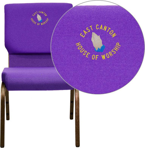 Flash Furniture XU-CH-60096-PU-EMB-GG Embroidered HERCULES Series 18.5'' Wide Purple Stacking Church Chair with 4.25'' Thick Seat - Gold Vein Frame - Peazz Furniture